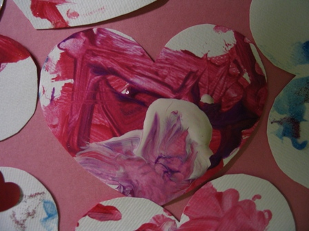 Last year the toddlers made tempera paint handprints for Valentine's Day