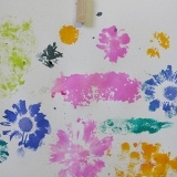 Flower Printing with Watercolor Stamp Pads