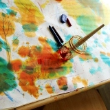 Leaf Rubbings and Liquid Watercolors