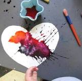 Watercolor Painting Valentines with the Toddler Art Group