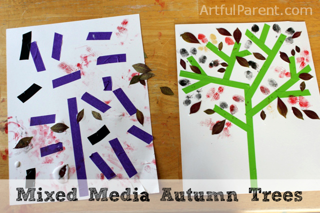 Mixed Media Autumn Trees :: A Fall Leaf Art Project for Kids