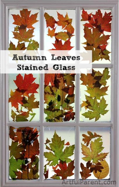 Fall Leaves Stained Glass Window Decorations
