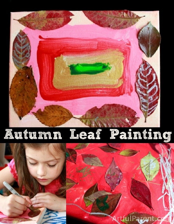 Mixed Media Autumn Leaf Painting