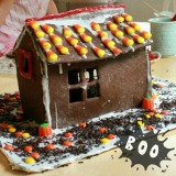 A Fall Gingerbread House with Halloween Candy