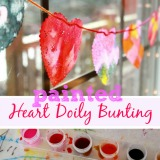 Painting heart doilies a valentines day bunting